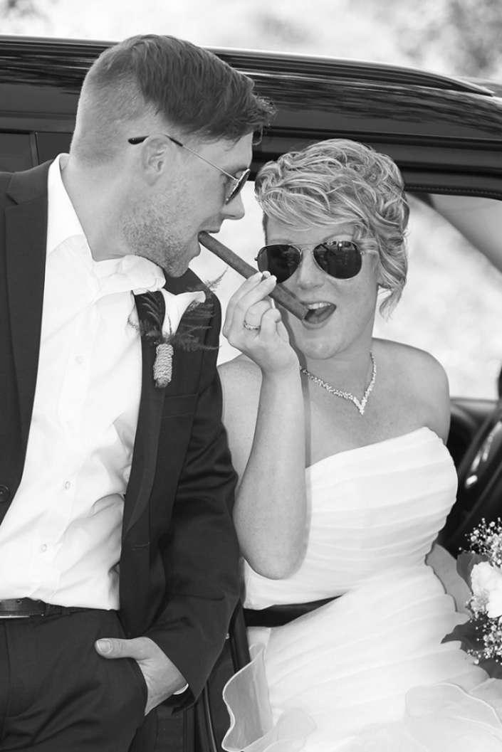 Hochzeitsbilder in Kastellaun mit Zigarre, Fotograf Dario