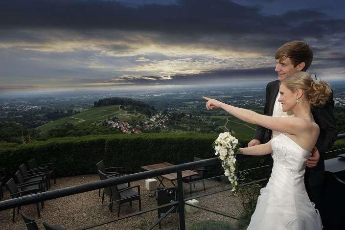 Hochzeitsfotos nähe Karlsruhe mit Fernblick