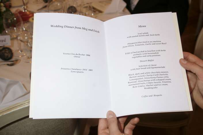 Menükarte vom Hochzeitsdinner
