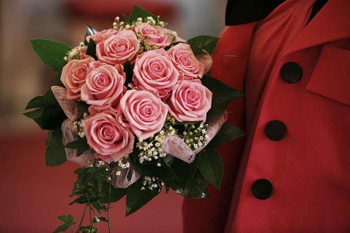 Brautstrauß mit rosaroten Rosen