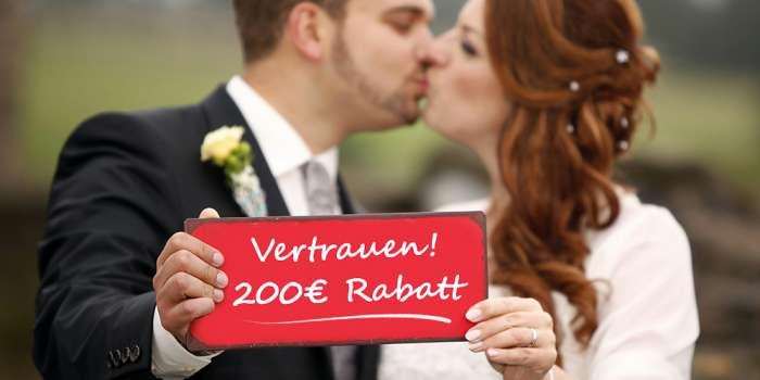 Wir geben 200€ Preisnachlass auf eure Hochzeitsfoto-Buchung, für schnell entschlossene Brautpaare.